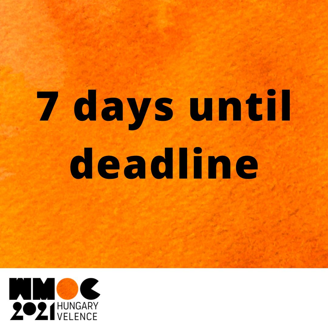 7 days until 2nd deadline